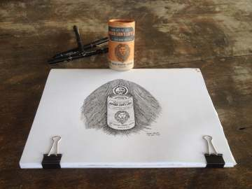 lions coffee product drawing